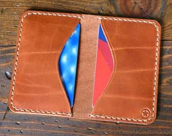 Two Pocket Card Wallet - unique textured chestnut harness leather