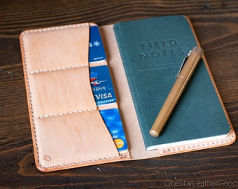 Field Notes End Papers wallet - natural veg skirting leather