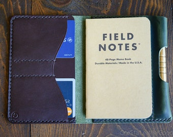 "LIMITED RUN - Field Notes wallet with pen sleeve ""Park Sloper Senior"" Horween leather - forest green / dark brown"
