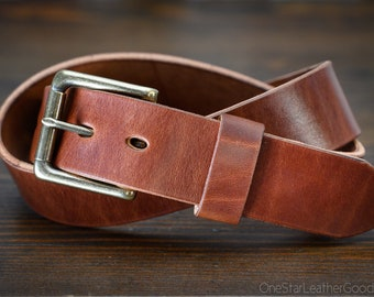 "Custom sized belt - 1.5"" width - THICK 12 oz. chestnut harness leather - heel bar buckle"