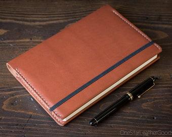 Leuchtturm 1917 Medium (A5) Hardcover Notebook wrap cover - chestnut Horween latigo leather