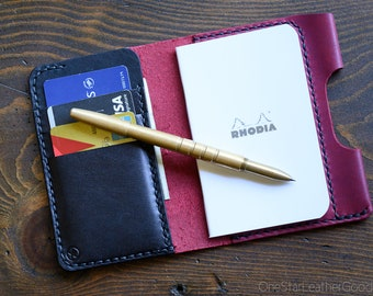 "Notebook/wallet/pen, ""Park Sloper Medium"" - Horween leather - magenta / black"