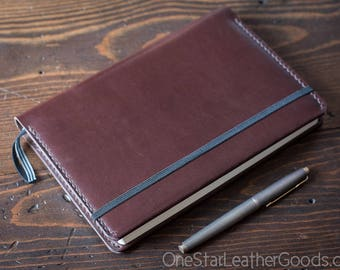 Leuchtturm 1917 Medium (A5) Hardcover Notebook wrap cover - brown bridle leather