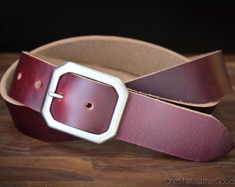 "Custom sized belt - 1.5"" width - Horween Chromexcel leather - center bar buckle - burgundy #8"