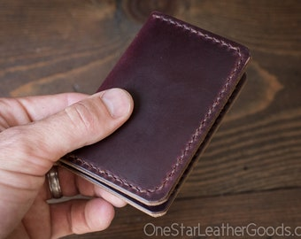 Two Pocket Card Wallet - Horween Chromexcel leather - burgundy