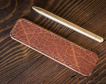 Pen Sleeve, Size Medium, Horween leather - textured tan