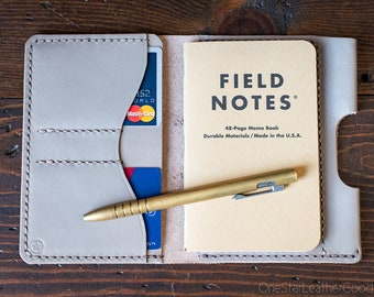 "Field Notes wallet with pen sleeve ""Park Sloper Senior"" Horween latigo leather - grey"