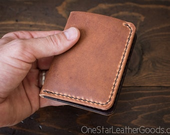 6 Pocket Horizontal Leather Wallet, Horween Dublin - chestnut / brown