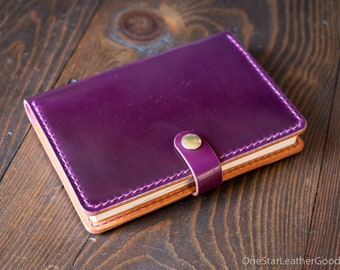 Hobonichi Techo (A6 size) planner cover + card pockets, snap closure, Horween shell cordovan - ultraviolet / tan bridle