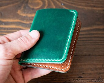 6 Pocket Horizontal Leather Wallet, Horween Chromexcel - bright green / chestnut harness