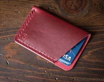The Minimalist: micro card wallet - red Horween Chromexcel leather