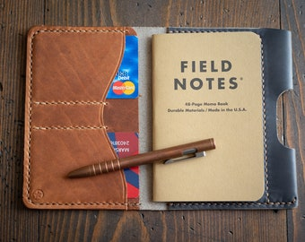 "Field Notes wallet with pen sleeve ""Park Sloper Senior"" Horween leather - slate / chestnut"