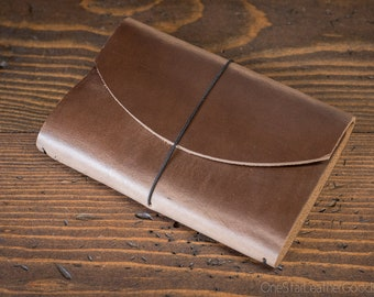 "Indie Pen Notebook, cover for Field Notes and other 3.5""x5.5"" notebooks - Horween natural Chromexcel"