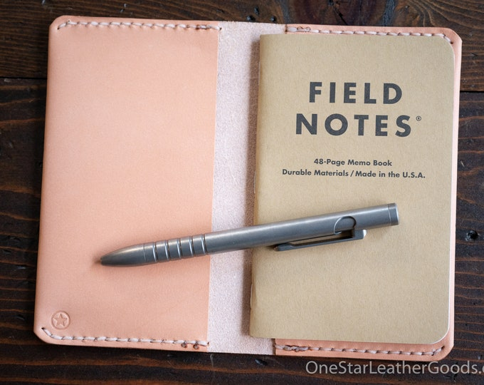 """Simple leather notebook cover for Field Notes and other 3.5x5.5"""" pocket notebooks - oak skirting"""