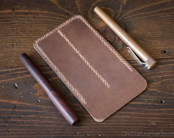 Double Pen Sleeve, Horween Chromexcel leather - natural color