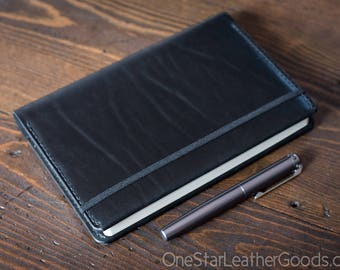 Leuchtturm 1917 Medium (A5) Hardcover Notebook cover - black bridle leather