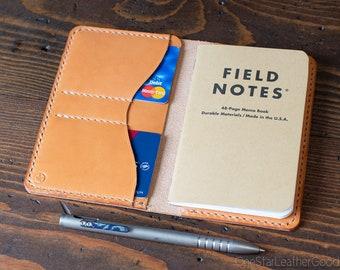 "Field Notes wallet, ""Park Sloper No Pen,"" wallet & notebook cover - Horween chestnut dublin / tan bridle leather"
