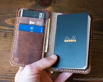 "Notebook/wallet, ""Park Sloper Medium, No Pen"" - Horween natural Chromexcel"