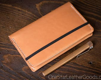 Leuchtturm 1917 Pocket (A6) hardcover notebook wrap cover, bridle leather - tan