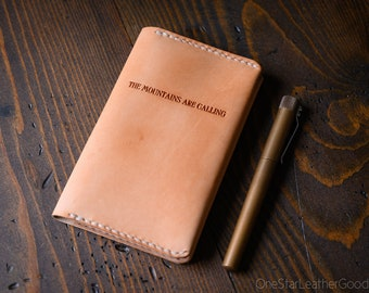 """Leather """"The Mountains Are Calling"""" notebook cover for Field Notes and other 3.5x5.5"""" pocket notebooks - natural veg"""
