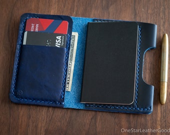 """Small notebook wallet and pen """"Park Sloper Junior"""" for Fisher Space Pen Bullet, Horween Chromexcel leather - blue"""