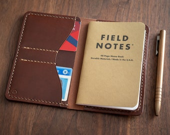 "Notebook wallet ""Park Sloper No Pen,"" fits Field Notes and other notebooks - chestnut latigo leather (video link in description)"