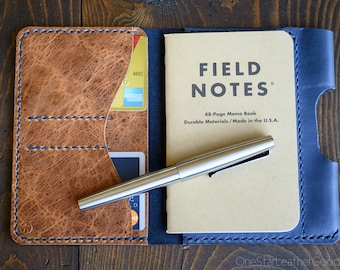 "LIMITED RUN - Field Notes wallet with pen sleeve ""Park Sloper Senior"" Horween leather - slate blue / textured chestnut"