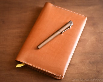 Baron Fig Confidant Flagship (A5) notebook and cover (fountain pen friendly paper) - tan bridle leather