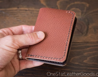 6 Pocket Vertical Leather Wallet, Horween crosshatch textured leather / brown