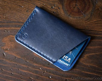 The Minimalist: micro card wallet - blue Horween Chromexcel leather