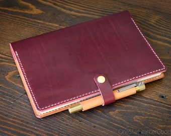 Hobonichi Cousin planner (fits other A5 notebooks) cover + snap + pen loop, leather journal cover, Horween Chromexcel leather - red
