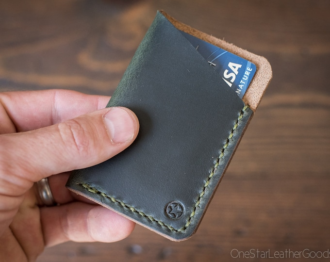 The Minimalist: micro card wallet - Horween Chromexcel leather - forest green