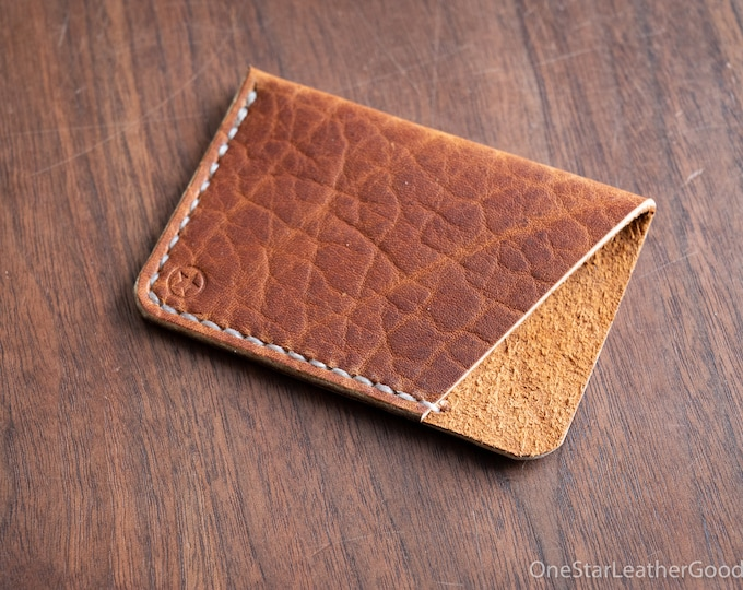 The Minimalist: micro card wallet - Horween leather - textured tan