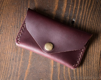 Coin pouch / wallet / business card case with snap, Horween Chromexcel leather - Burgundy #8