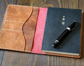 Leather cover for A6 sized softcover notebooks - Hobonichi, Midori, Muji, Apica & more - (+card pockets) red / textured tan