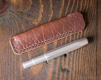 Kaweco Sport pen sleeve - hand stitched Horween Chromexcel leather - textured brown