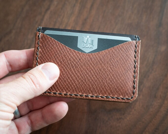 Three Pocket Flat Wallet - crosshatch / brown