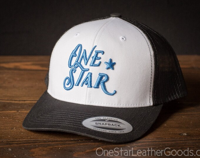 One Star Leather Goods Hat - 3D puff embroidered - mesh back - blue logo