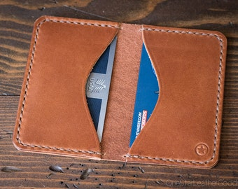 Two Pocket Card Wallet - chestnut harness leather