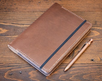 Leuchtturm 1917 Medium (A5) Hardcover Notebook cover + card pockets - natural chromexcel / brown stitching