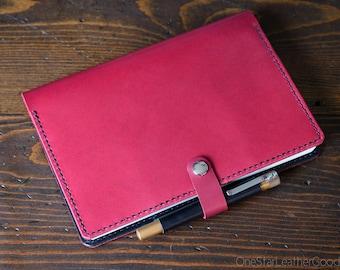 Leather over for A5 softcover notebooks - Hobonichi, Rhodia, Leuchtturm1917, Nanami, Midori, Life, Apica & more - magenta / black