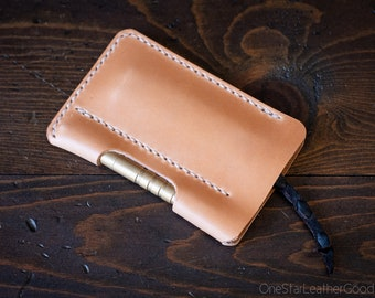 "EDC-2, every day carry pocket knife and pen case, Large size for knives up to 4.5"" closed - tan harness leather"