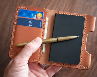 "DISCOUNTED - Small notebook wallet and pen ""Park Sloper Junior"" for Fisher Space Pen Bullet - chestnut skirting leather"