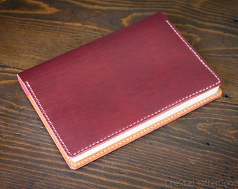 Hobonichi Cousin planner (fits other A5 notebooks) cover, leather journal cover, Horween Chromexcel leather - red