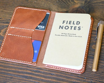 """Notebook wallet """"Park Sloper No Pen,"""" fits Field Notes and other notebooks - chestnut harness leather"""