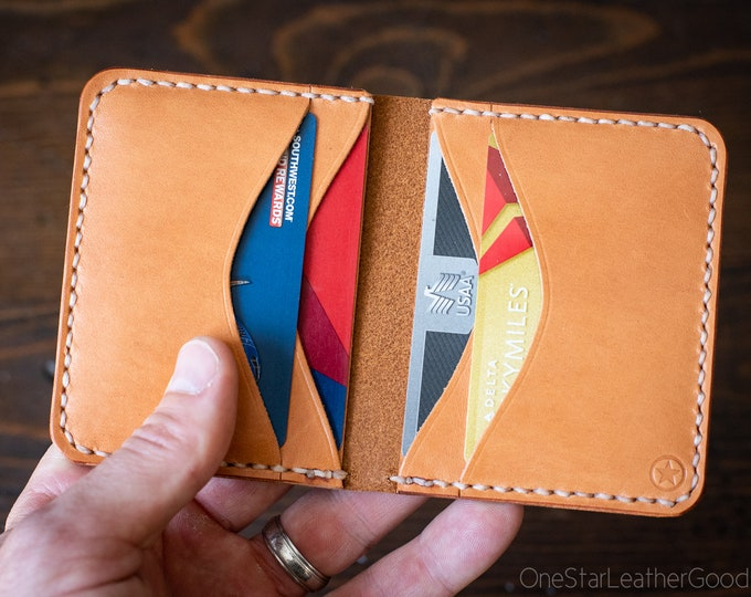 6 Pocket Horizontal Leather Wallet - tan bridle leather