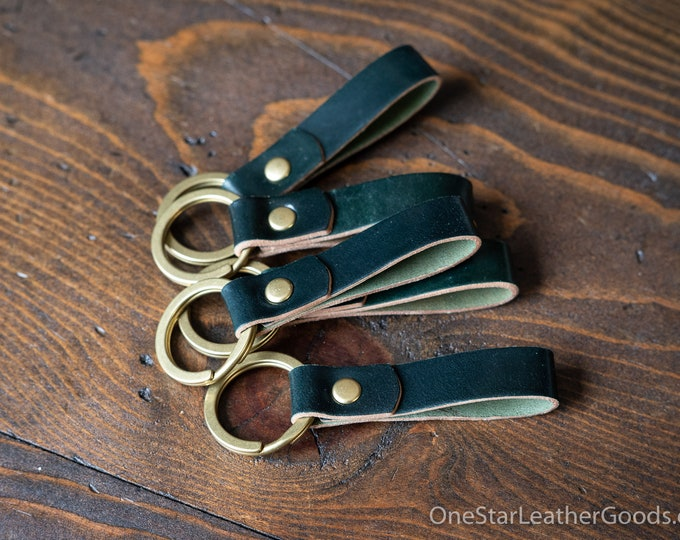 Key fob & keyring, keychain, Horween shell cordovan - forest green / brass