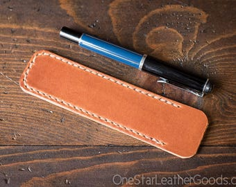 Pen Sleeve, Size Medium, harness leather - chestnut