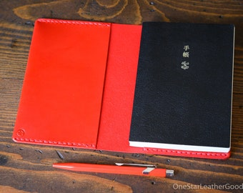 DISCOUNTED Leather wrap cover for A6 sized softcover notebooks - fits Hobonichi planner, Midori, Muji, Apica, Nanami and more - red / red