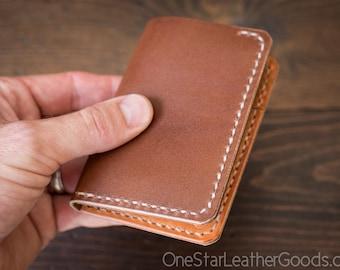 6 Pocket Vertical Wallet, Horween leather - dark tan / tan